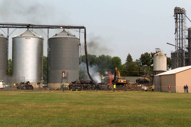 The elevator caught fire Sunday morning in Clinton, Minnesota, and prompted the evacuation of...