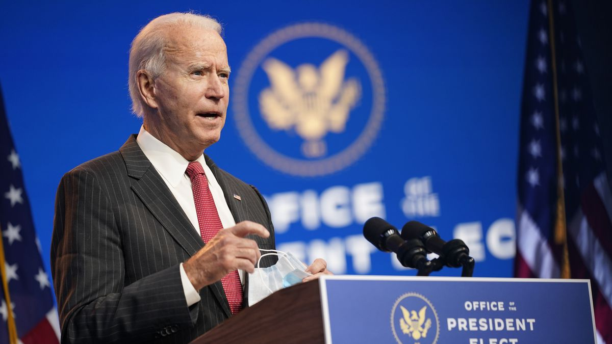 FILE - In this Nov. 19, 2020 file photo, President-elect Joe Biden speaks at The Queen theater...