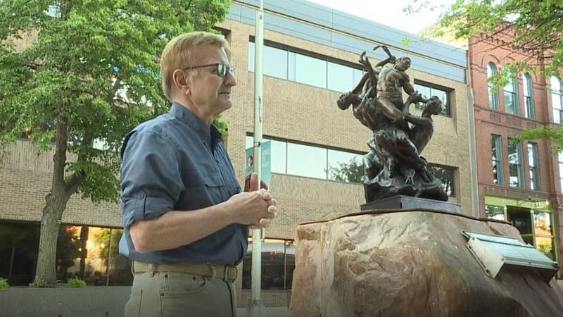 SculptureWalk Director Jim Clark talks about one of the walk's new sculptures for the 2021...