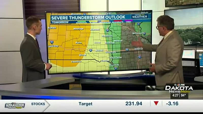Damaging storms possible on Thursday.