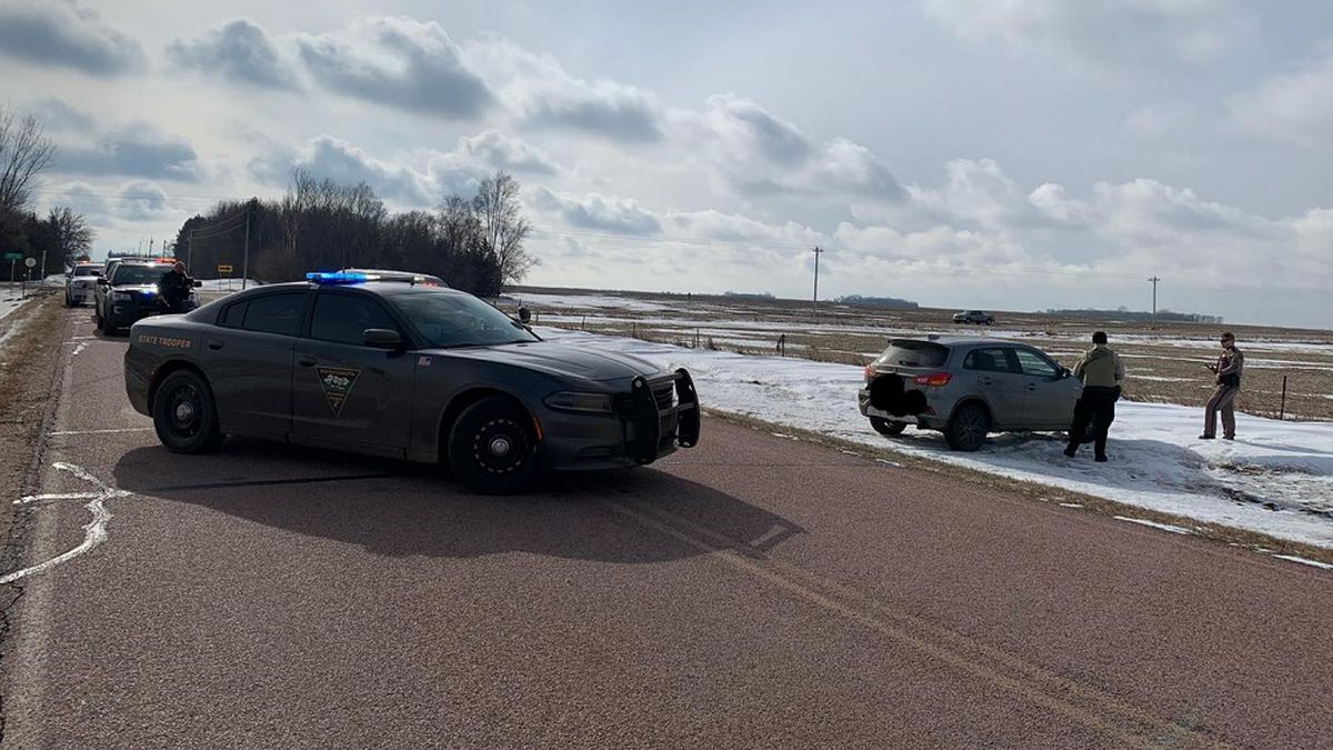 Authorities say a two-state pursuit of a stolen vehicle ended after troopers stopped the...
