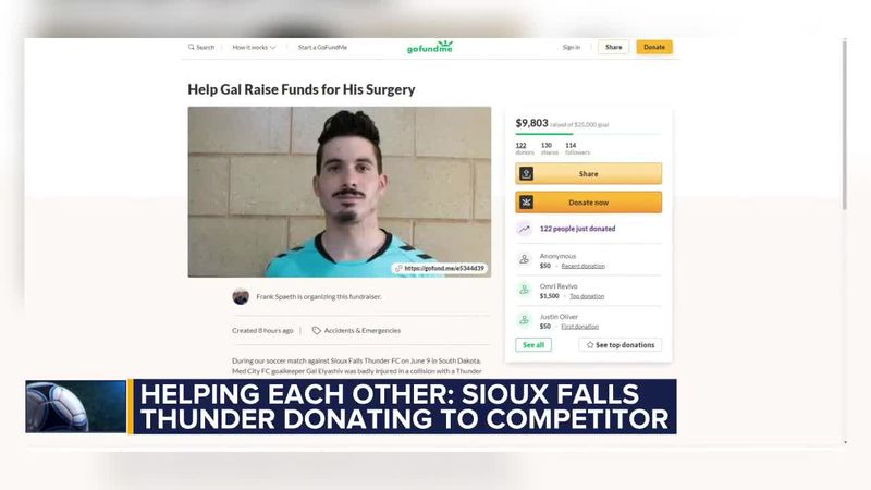 Sioux Falls Thunder FC donates money to help competitor in need