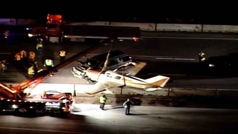 KSTP's Chopper 5 captures an image of the plane after it landed on an Interstate