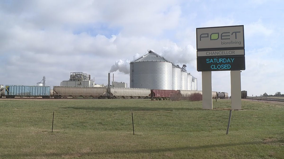 File photo of Poet's ethanol production facility in Chancellor