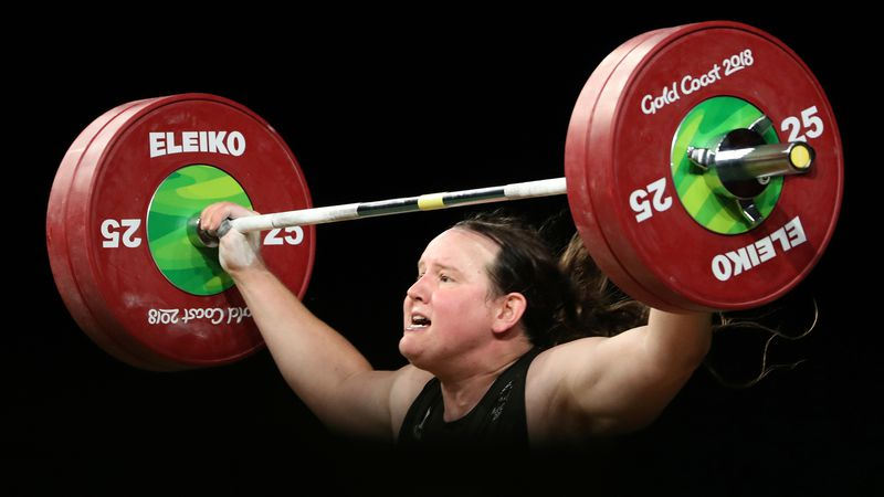 FILE - In this April 9, 2018 file photo, New Zealand's Laurel Hubbard lifts in the snatch of...