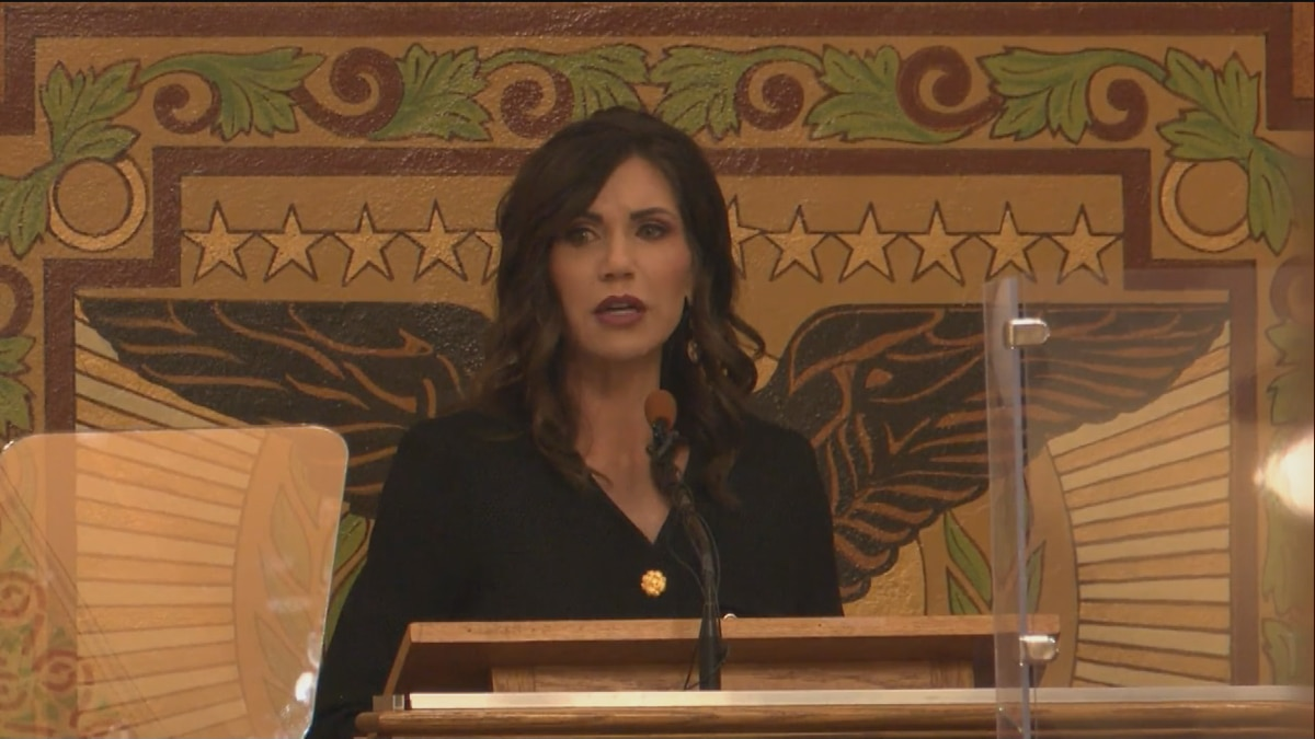 Gov. Noem talking at State of the State address.