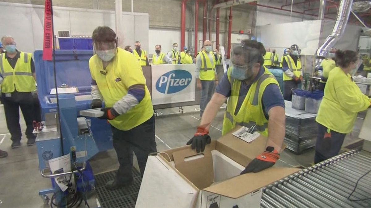 A Pfizer facility is seen in this file photo. Pfizer says new data shows its COVID-19 vaccine...