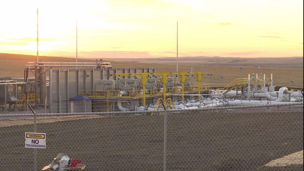 A Keystone XL pipeline construction site near Presho, S.D. hours after Pres. Joe Biden revoked...