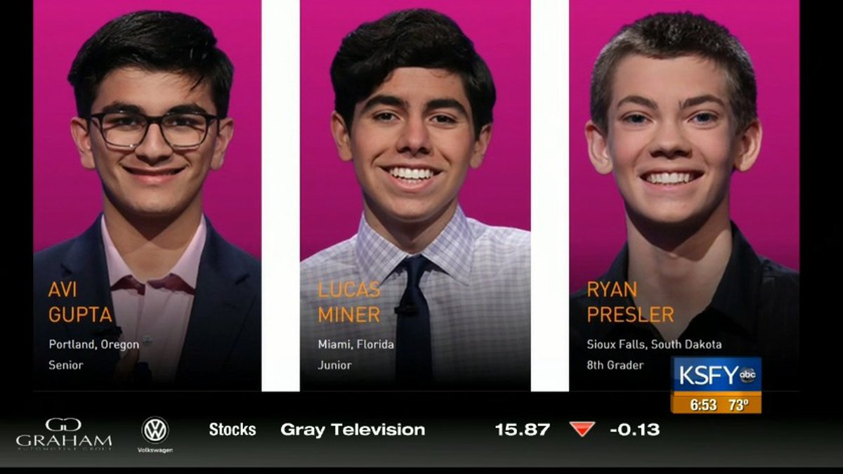 Three teens compete for $100,000 in Jeopardy! Teen Tournament