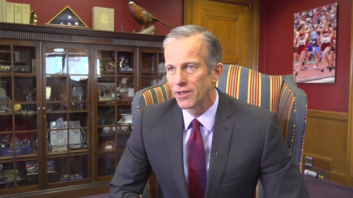 Sen. John Thune (R-SD) talks about the trade agreements of the week. (Source: Gray DC)