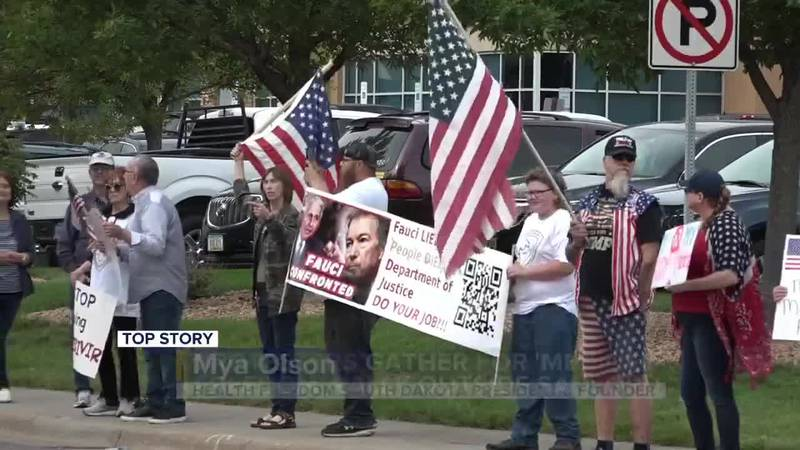 Protesters gather for 'Medical Freedom' rally outside Sanford.