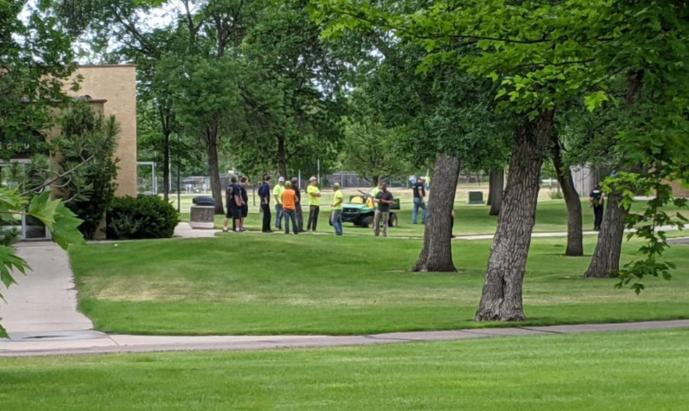 City crews and other law enforcement agencies gather to search Wylie Park in Aberdeen after a...