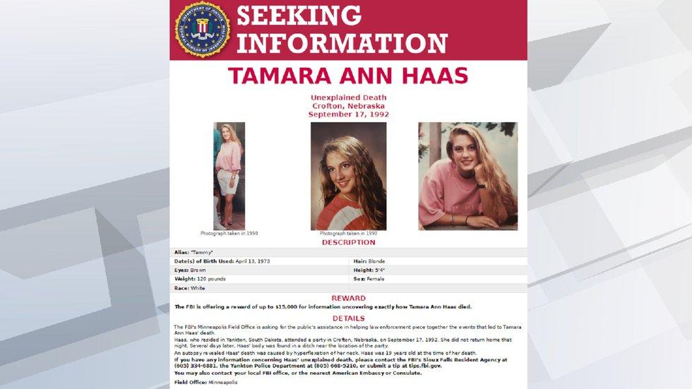 The FBI is offering a $15,000 reward for information regarding Tammy Haas' 1992 death.