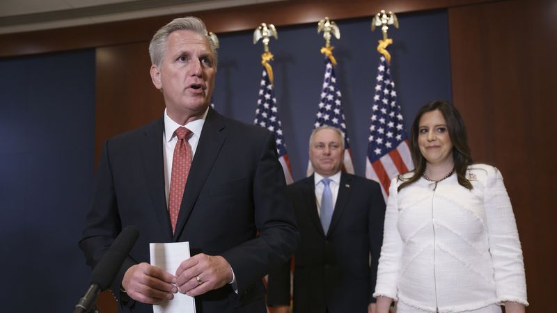 FILE - From left, House Minority Leader Kevin McCarthy, R-Calif., Minority Whip Steve Scalise,...