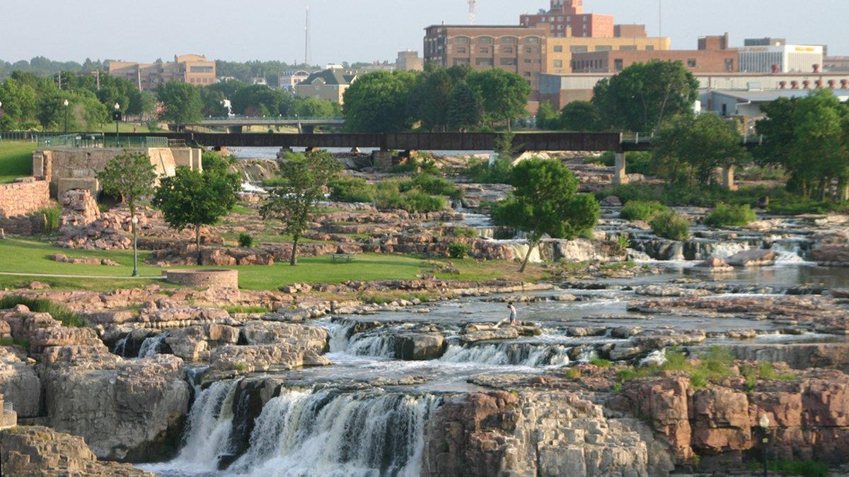 Falls Park near downtown Sioux Falls