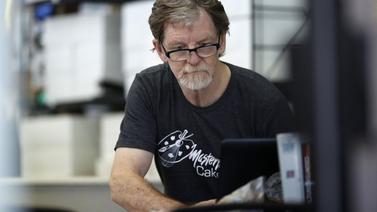 FILE - In this June 4, 2018, file photo, baker Jack Phillips, owner of Masterpiece Cakeshop,...