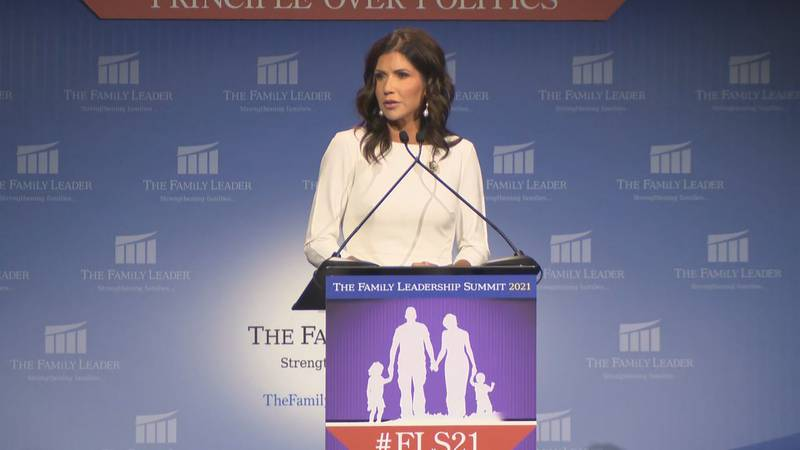 Gov. Kristi Noem speaks in Des Moines, Iowa. (file)