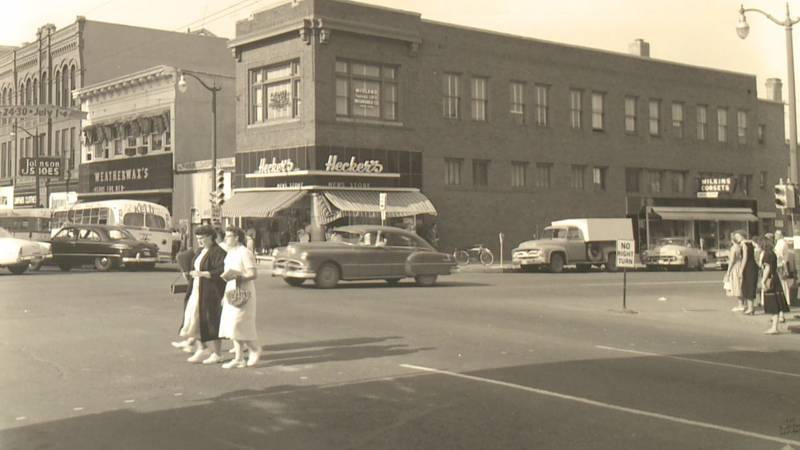 This photo of Phillips avenue in downtown Sioux Falls reflects the hub of activity it was in 1966
