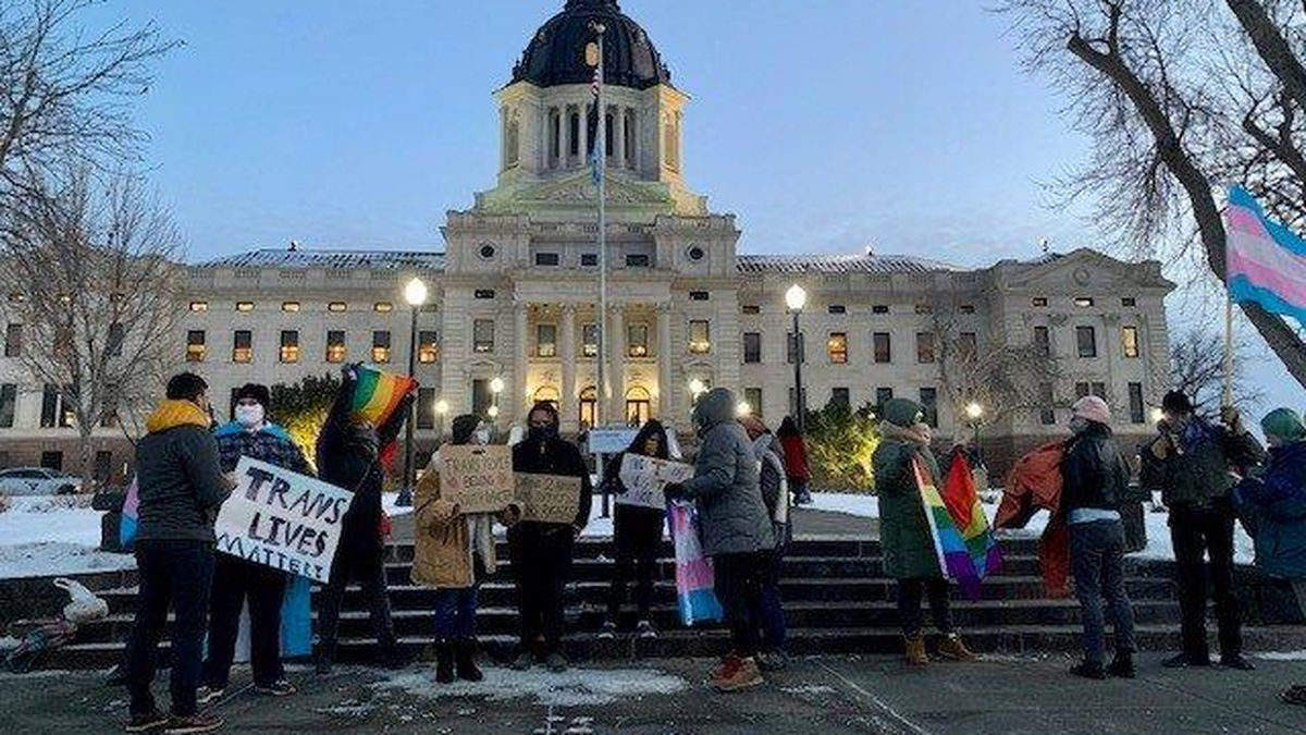 LGTBQ activists gathered in Pierre earlier this legislative session to protest transgender...