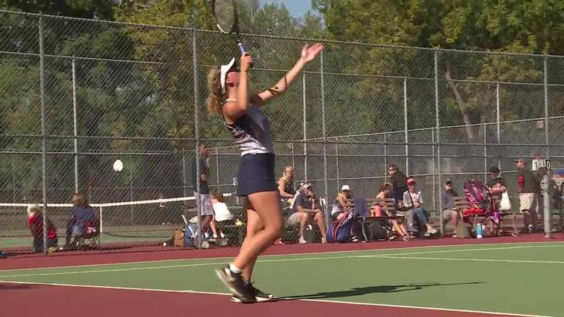 """Hancock wins singles title and Mitchell team championship at Girls State """"A"""" Tennis"""