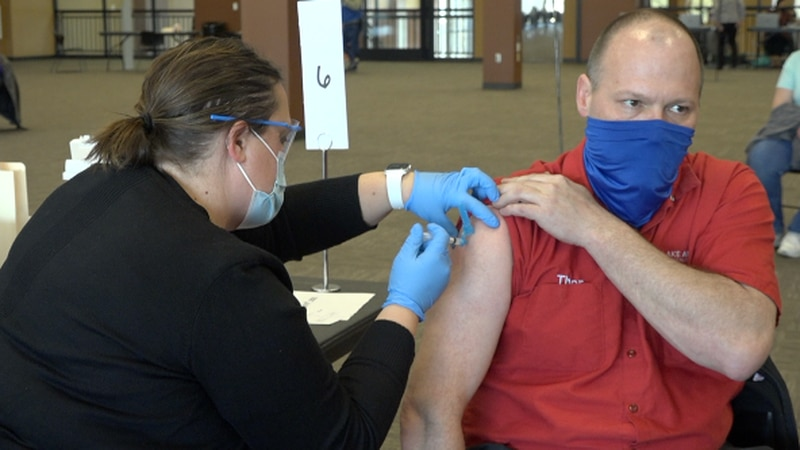 In Watertown at Lake Area Tech., hundreds of educators received their first dose Friday, March...