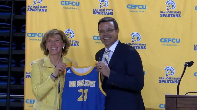 Introduced as new San Jose State men's basketball coach