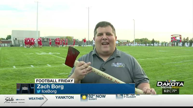Traveling trophy presented to Luverne-Pipestone football winner