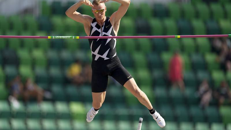 Sam Kendricks competes during the finals of the men's pole vault at the U.S. Olympic Track and...