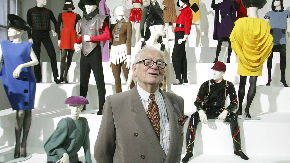 In this May 3, 2005 file photo, French fashion designer Pierre Cardin presents his exhibition...