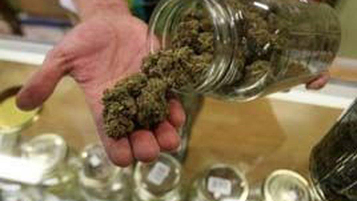 A non-profit co-operative medical marijuana dispensary, displays various types of...