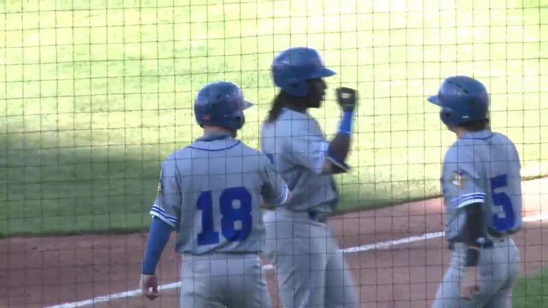 Celebrating three-run homerun in 13-7 victory at Fargo/Moorhead