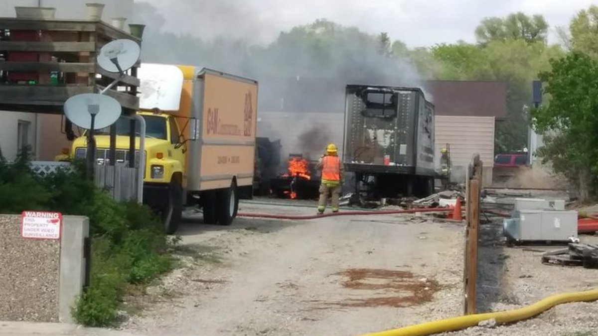 The cause of a fire that destroyed a semi-trailer, two dump trucks, and a flatbed trailer in...