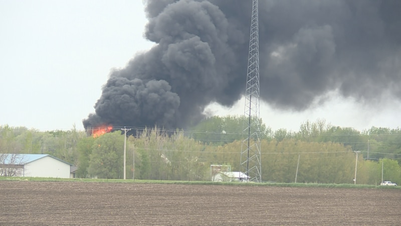 Fire from Sibley train crash